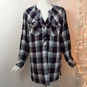 3/$18🛍 GAP Pink Blue Gray Plaid Button Tunic